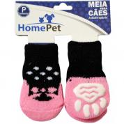 Meia Antiderrapante Cachorros Sapato Rosa P HomePet