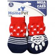 Meia Antiderrapante Cachorros Vermelha com Estrelas G HomePet