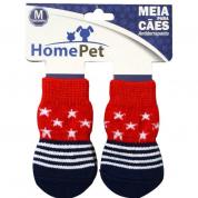 Meia Antiderrapante Cachorros Vermelha com Estrelas M HomePet