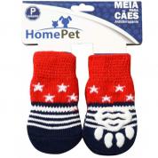 Meia Antiderrapante Cachorros Vermelha com Estrelas P HomePet