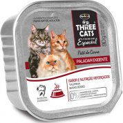 Patê Three Cats Paladar Exigente Carne para Gatos Adultos 90g