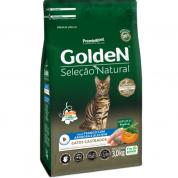 Ração Golden Seleção Natural Gatos Adultos Castrados Frango, Abóbora e Alecrim 3kg