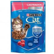 Alimento Úmido Sachê Purina Cat Chow Castrados Carne ao Molho 85g
