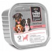 Ração Úmida Patê de Frango Three Dogs Premium Especial Cães Castrados 150g