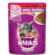 Ração Whiskas Sachê Filhotes Jelly Carne 85g