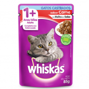 Alimento Úmido Whiskas Sachê Gatos Castrados Carne 85g