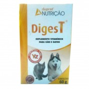Suplemento Vitamínico DigesT Para Cães e Gatos Sabor Bacon 60g