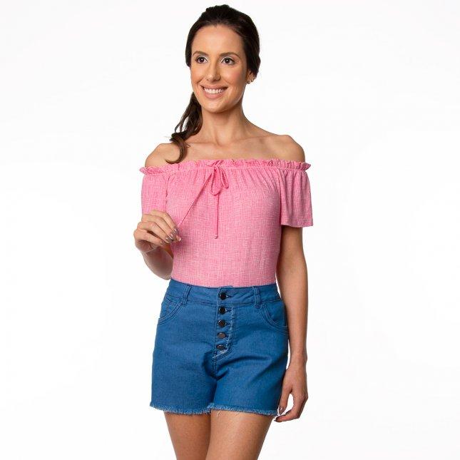 Blusa Ciganinha Feminina Manga Curta Estampada Rosa
