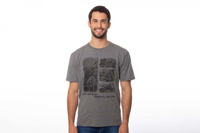 Camiseta Masculina Manga Curta Gola Redonda Mescla Com Estampa Motocicleta