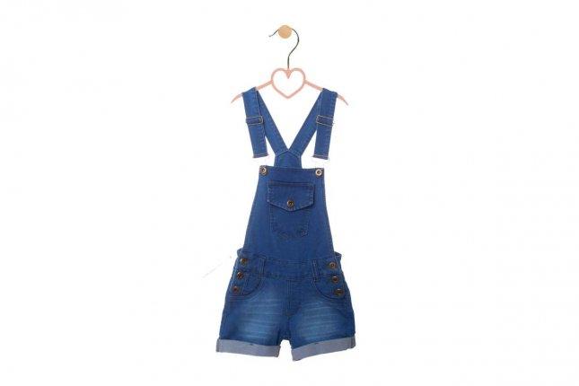 Jardineira Infantil Menina Jeans com Barra Dobrada