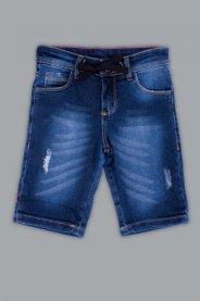 Imagem - Bermuda Jeans Infantil Barra Virada com Pluídos