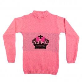 Imagem - Blusa Básica Acrílico Infantil Menina Rosa Estampa Coroa