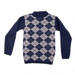 Imagem - Blusa Básica Acrílico Infantil Menino Azul Estampa Escocês