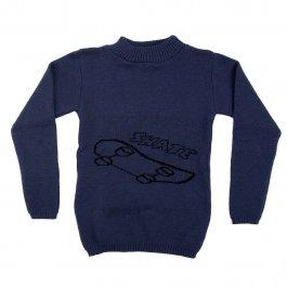 Imagem - Blusa Básica Acrílico Infantil Menino Azul Estampa Skate