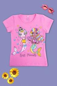 Imagem - Blusa Cotton Infantil Estampada Sereia