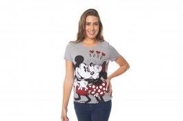 Imagem - Blusa Feminina Mickey e Minnie Decote Redondo Mescla