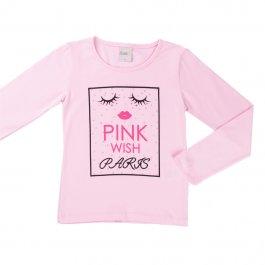 Imagem - Blusa Infantil Menina Rosa com Strass