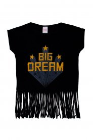 Imagem - Blusa Juvenil Menina Estampa Big Dream Com Franja