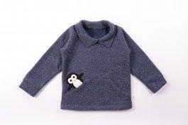 Imagem - Blusão Bebê Menino Boucle com bordado pinguim