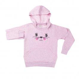 Imagem - Blusão Infantil Menina Mescla Rosa com Capuz