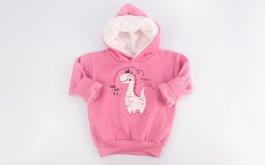 Imagem - Blusão Moletom Bebê Menina Rosa Estampado Com Capuz Forrado Pelo