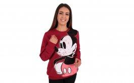 Imagem - Blusão Moletom Disney Mickey Estampa Frontal Bordô