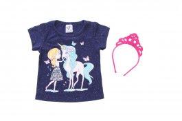 Imagem - Blusinha Bebê Menina com Tiara e Glitter