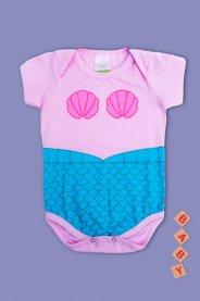 Imagem - Body Cotton Bebê Menina Estampado Sereia
