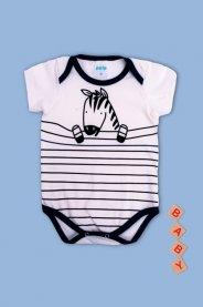 Imagem - Body Cotton Bebê Menino Estampado Zebra