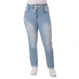 Imagem - Calça Clochard Jeans Feminina com Cordão