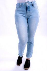 Imagem - Calça Jeans Feminina Cropped com Puidos e Barra Desfiada
