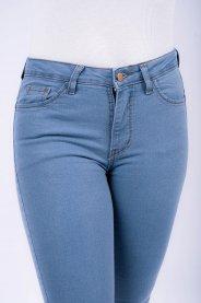 Imagem - Calça Jeans Clara Feminina Cigarrete Com Barra Defiada