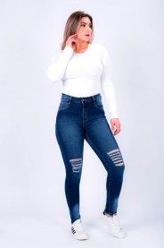 Imagem - Calça Jeans Feminina Cigarrete Com Rasgos Barra Desfiada