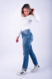 Imagem - Calça Jeans Feminina Mom Barra Dobrada