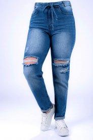 Imagem - Calça Jeans Feminina Mom com Cordão