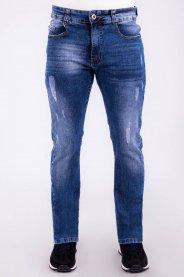 Imagem - Calça Jeans Masculina Skinny Azul Com Detalhe Puídos e Ralados