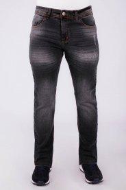Imagem - Calça Jeans Masculina Skinny Preta Detalhe Used