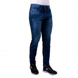 Imagem - Calça Jeans Masculina Slim Azul Com Detalhe Bigode