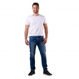 Imagem - Calça Jeans Masculina Slim Azul Com Detalhe Puídos