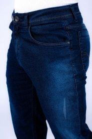 Imagem - Calça Jeans Masculina Slim Azul Escura Com Detalhe Used