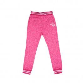 Imagem - Calça Moletom Infantil Menina Pink com Bordado Corações