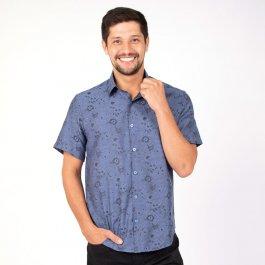 Imagem - Camisa Fit Masculina Manga Curta Marinho Estampa Floral