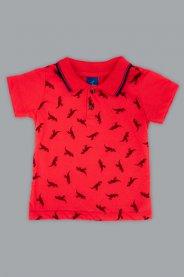 Imagem - Camisa Gola Polo Bebê Estampa Dino