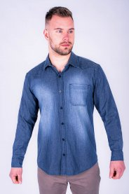 Imagem - Camisa Jeans Tradicional Masculina Com Bolso