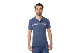Imagem - Camisa Polo Algodão Masculina Manga Curta Azul Com Estampa