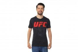 Imagem - Camiseta Algodão Masculina Manga Curta Gola Redonda Preta UFC