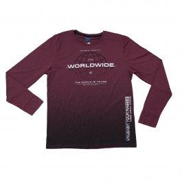 Imagem - Camiseta Masculina Manga Longa Gola Redonda Estampada Vinho