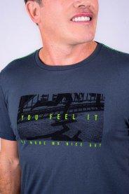 Imagem - Camiseta Dry Fit Masculina Manga Curta Marinho