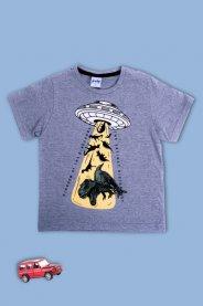 Imagem - Camiseta Infantil Menino Estampada Dino Espacial