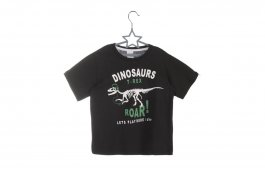 Imagem - Camiseta Infantil Menino Preto Manga Curta Dinossauro